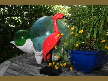 Heron Bird Rustic Red Coastal 14 Garden Home Decor