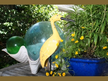 Egret Bird Rustic Yellow Coastal 14 Garden Home Decor