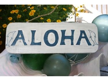 Aloha Beach Sign 14 Rustic White Blue Coastal Decor