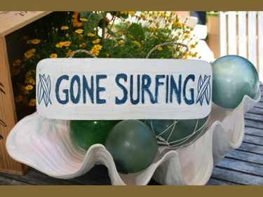 Gone Surfing Beach Sign 14 Rustic White Blue Coastal Decor