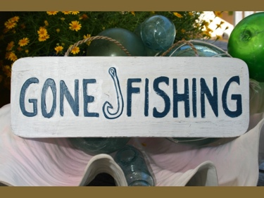 Gone Fishing Beach Sign 14 Rustic White Blue Coastal Decor