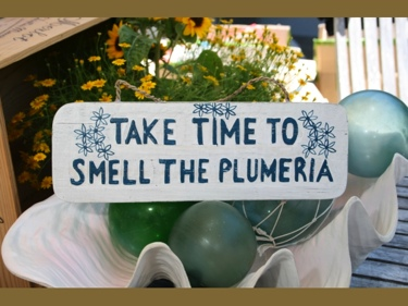 Take Time To Smell The Plumeria Cottage Sign 14 Rustic White Blue Coastal Decor