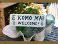 E Komo Mai Welcome Cottage Sign 14 Rustic White Blue Coastal Decor