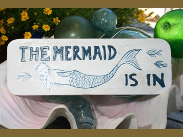 The Mermaid Is In Cottage Sign 14 Rustic White Blue Coastal Decor