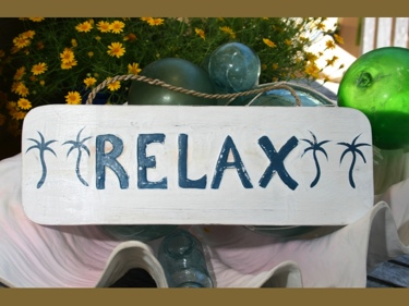 Relax Cottage Beach Sign 14 Rustic White Blue Coastal Decor