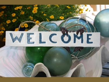 Welcome W Crab Cottage Beach Sign 14 Rustic White Blue Coastal Decor