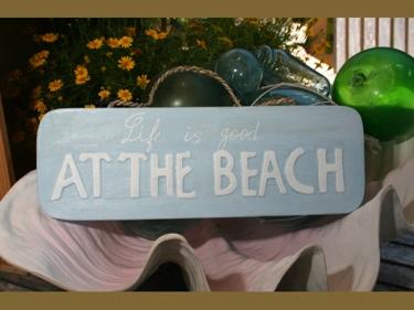 Life Is Good At The Beach Coastal Sign 14 Rustic White Blue Nautical Decor