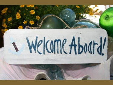 Welcome Aboard W Anchor Sign 14 Rustic White Blue Nautical Decor