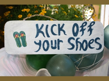 Kick Off Your Shoes Beach Sign 14 Rustic White Blue Nautical Decor