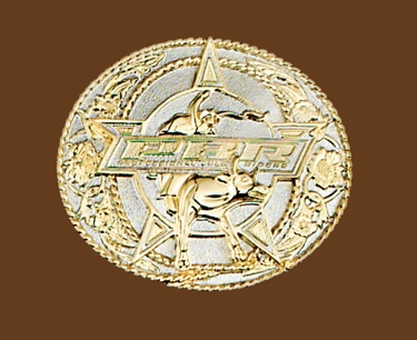 Professional Bullriders Licensed Belt Buckle 2-tone Gold/Silver 3-3/4 x 3-1/4