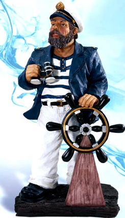 18.5 Inch Captain Standing at Wheel Nautical Figure