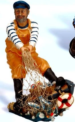 10 Inch Fisherman pulling in his catch Nautical Figure