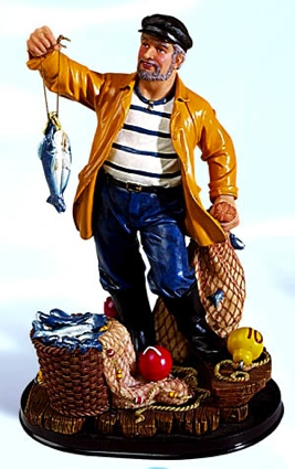 11 Inch Fisherman with Catch Nautical Figure