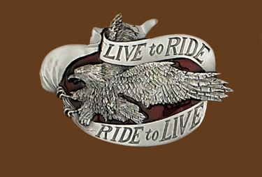 Live to Ride Belt Buckle 3-3/4 x 2-3/4