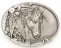 Horsehead With Feathers Belt Buckle 3 x 2-1/4