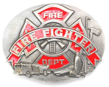 Fire Fighter Belt Buckle Enameled 3 x 2-1/2