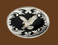 Silver Eagle on Black Enamel Belt Buckle 3-1/2 x 2-3/4