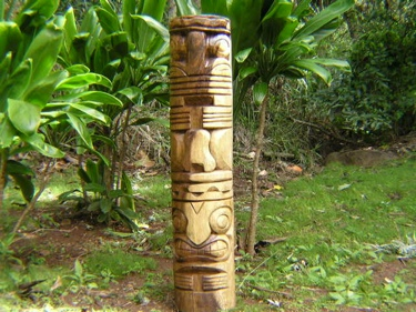 Tahitian Tiki Totem 4 Feet Love Prosperity Natural Acacia