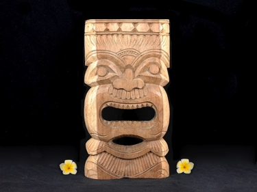 Carved Tiki Mask Natural Acacia Koa 18 Hawaiian Tiki God