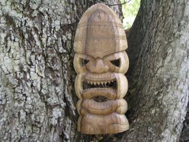 Carved Tiki Mask 18 Hawaiian Tiki God