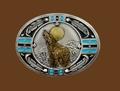 Southwestern Howling Wolf Belt Buckle 3-1/4 x 2-1/2