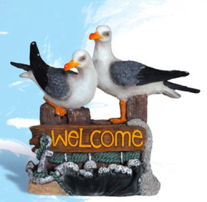 Polystone Twin Seagulls With Welcome Sign