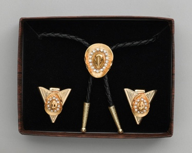 Bolo Tie & Collar Tip Boxed Set - Gold Hat & Austrian Crystals