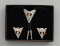 Bolo Tie & Collar Tip Boxed Set - Interlocking Squares & Austrian Crystal