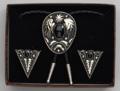 Bolo Tie & Collar Tip Boxed Set - German Silver & Black Onyx Stones
