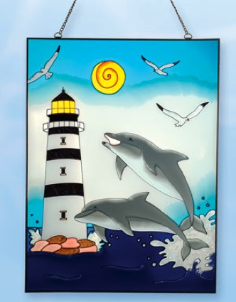 24 Inch x 18 Inch Dolphin Stain Glass Lighthouse Decor