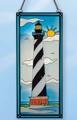 17.5 Inch x 7.5 Inch Cape Hatters Stain Glass Lighthouse Decor