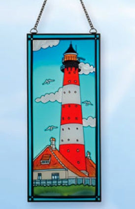17.5 x 7.5 Red Horz. Stripe Stain Glass Lighthouse Decor