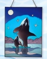 24 Inch x 18 Inch Whale Stain Glass Lighthouse Decor