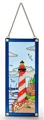 17.5 Inch x 7.5 Inch Red Barber Pole Stripe Stain Glass Lighthouse Decor