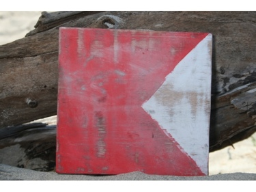 B Nautical Rustic Flag 8' X 8' Wood Panel Nautical Decor