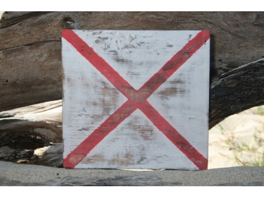 V Nautical Rustic Flag 8' X 8' Wood Panel Nautical Decor