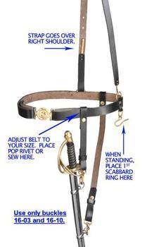 Civil War Sword Belt With Strap
