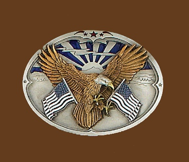 Eagle with American Flags Belt Buckle 3-1/8 x 2-1/4