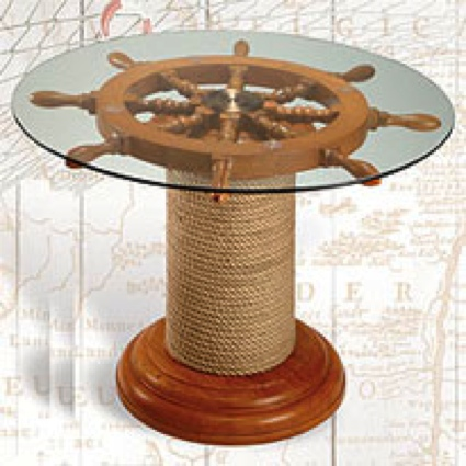 27 Inch Rope Stand Table Nautical Decor