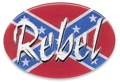 Trailer Hitch Cover - Rebel on Rebel Flag 3 1/2 x 5