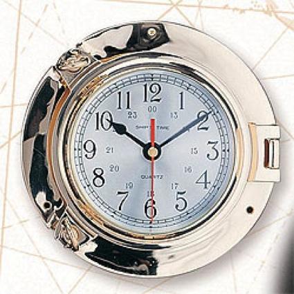 9 Inch Brass Port Hole Clock Nautical Decor