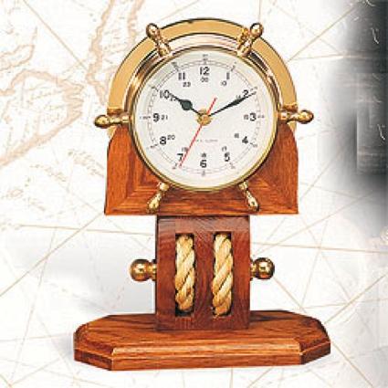 Brass Wheel Clock With Base 8.75 x 4.25 x 11 Nautical Decor