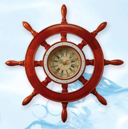 19 Inch Dia. Wooden Shipwheel Clock Nautical Ship Wheel