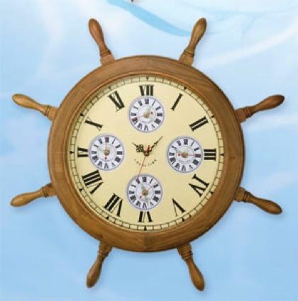 27 inch World Clock Nautical Ship Wheel