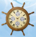 27 inch World Clock Nautical Ship Wheel