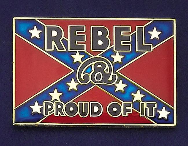 Tie tack rebel amp proud of it see pb hat tacks pins badges tt 2