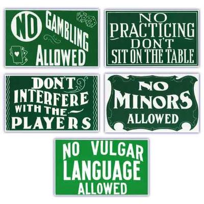 Pool Hall Advisory Signs Set Of Five