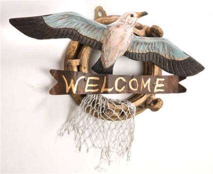 12 Inch x 10 Inch Wooden Seagull Welcome Sign Nautical Decor