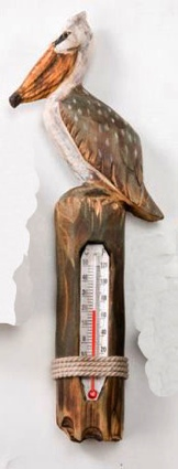 9 Inch Wooden Pelican Thermometer Nautical Decor