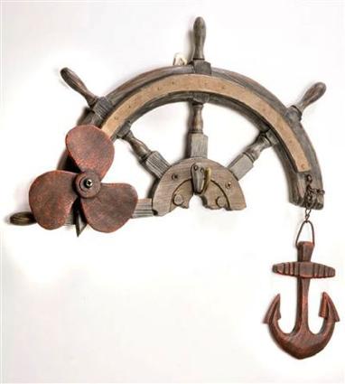 15.75 Inch x 15 Inch Wheel Hanger Nautical Decor